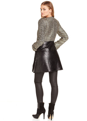 Rachel Roy Coat, Boucle Faux-Leather Faux-Fur