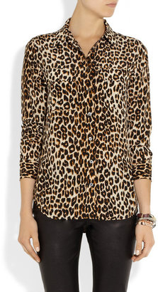 Equipment Slim Signature leopard-print silk-chiffon shirt