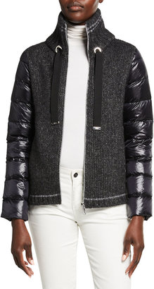 Herno Short Classic Down Coat with Knit Contrast
