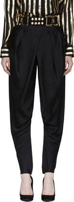 Balmain Black Pleated Cross-Front Trousers