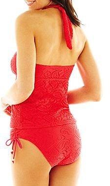 JCPenney Aqua Couture Ruffled-Edge Patterned Halterkini Swim Top