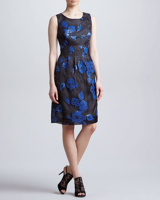 Lela Rose Embellished Sleeveless Organza Sheath Dress