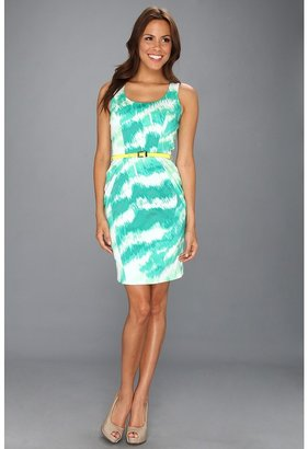 Vince Camuto Printed Structured Dress w/Racerback (Green) - Apparel