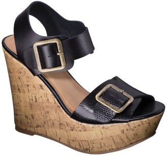 Mossimo Women's Walda Wedge Sandal with Buckle - Black