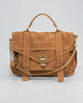 Proenza Schouler PS1 Medium Suede Satchel Bag, Tobacco