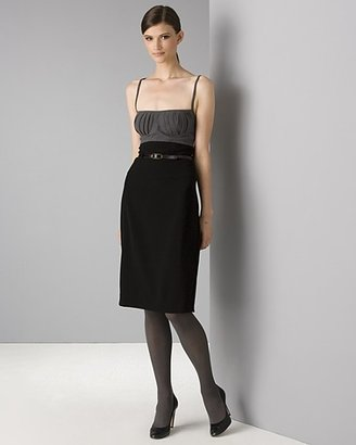 Black Halo Women's Sleeveless Double Crepe Pleated Bodice Camisole Dress