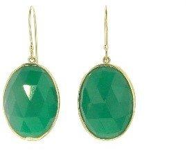 Jamie Joseph Rose Cut Oval Green Onyx Earrings