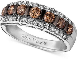 Le Vian Diamond Chocolate Diamond and White Diamond Band (1-1/6 ct. t.w.) in 14k White Gold $3,200 thestylecure.com