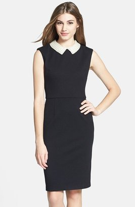 Betsey Johnson Faux Pearl Collar Sheath Dress