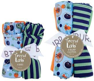 Trend Lab snuggle monster bib & burp cloth set