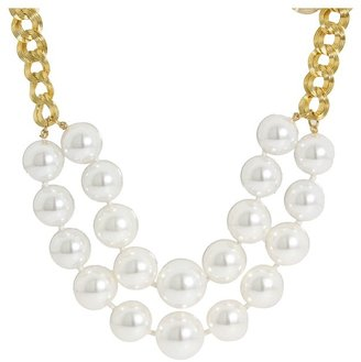 Kenneth Jay Lane 2 Tier Pearl Necklace