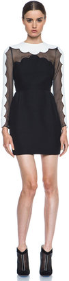 Valentino Scallop Edge Tulip Wool-Blend Dress in Black & White