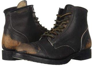 Frye Logan Cap Toe (Black Brush-off Full Grain) Cowboy Boots