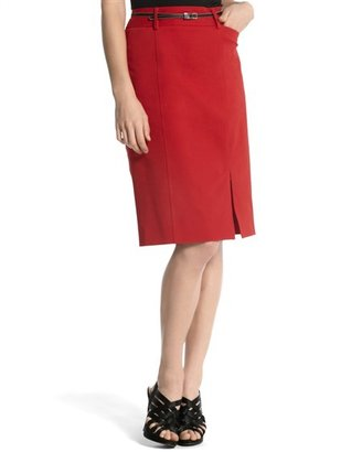 White House Red Bi-Stretch Pencil Skirt