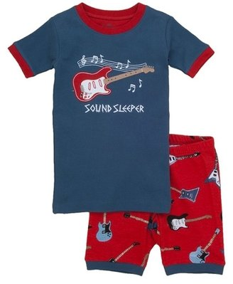 Hatley Boy's Electric Guitars Short Sleeve Overall Print Pajama Set