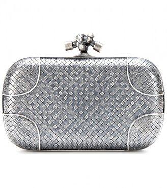 Bottega Veneta Knot silver box clutch