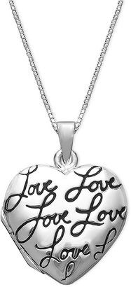 Inspirational Sterling Silver Necklace, Love Heart Locket