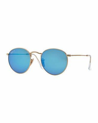 Ray-Ban Polarized Round Metal-Frame Sunglasses with Blue Mirror Lens $200 thestylecure.com