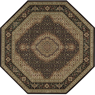 "Nourison Octagon Area Rug, Persian Arts BD03 Black 7' 9"""