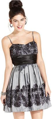 B. Darlin Dress, Sleeveless Rosette A-Line
