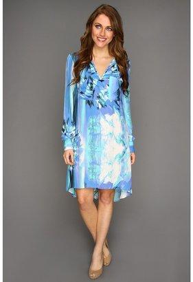 BCBGMAXAZRIA Darell L/S Printed Blouse Tunic Dress (Dark Ash Blue Combo) - Apparel