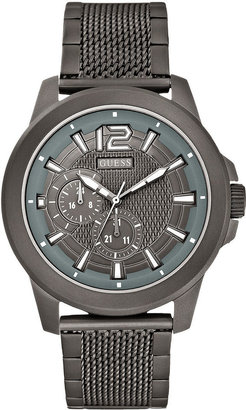 GUESS Watch, Men's Gunmetal-Tone Stainless Steel Mesh Bracelet 45mm U0268G2