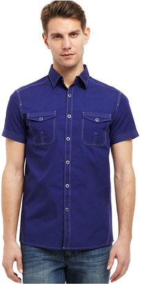 Kenneth Cole Reaction Shirt, Short-Sleeve Contrast-Stitch Button-Down Shirt