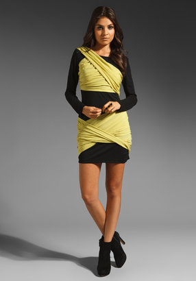 Wish Chaos Dress in Black/Lime