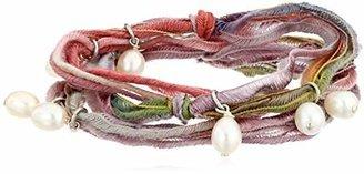 "Ettika Vintage Ribbon"" Rainbow Wrap Bracelet Pearl Drops 21"" + 1"" Extender"