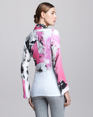 Christopher Kane Printed Silk Biker Jacket