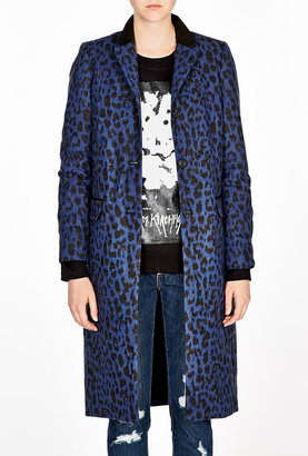 Sea Leather Trim Leopard Print Coat
