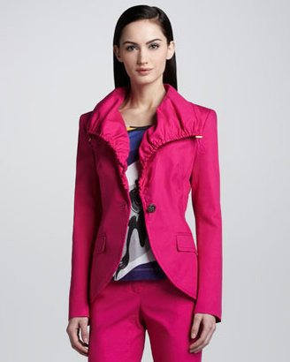 Escada Canvas Drawstring Jacket, Open Pink