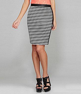 Gianni Bini Viper Faux-Leather-Trim Stripe Skirt