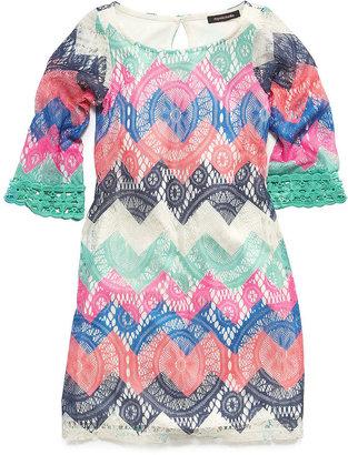 Sequin Hearts Girls' Chevron Lace Shift Dress