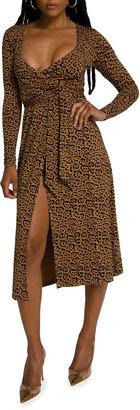 Good American Leopard-Print Wrap Midi Dress