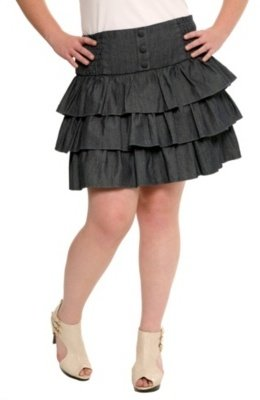 Blue Denim Ruffled Tier Skirt