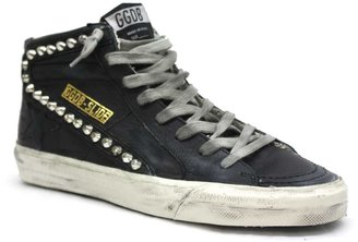 "Golden Goose 124-F4"" Black Leather Studded Sneaker"