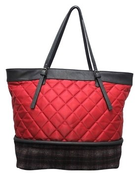 Sondra Roberts Quilted Nylon Tote With Plaid Bottom