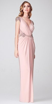 Mignon Ruched Surplice Beaded Cap Sleeve Long Evening Dresses