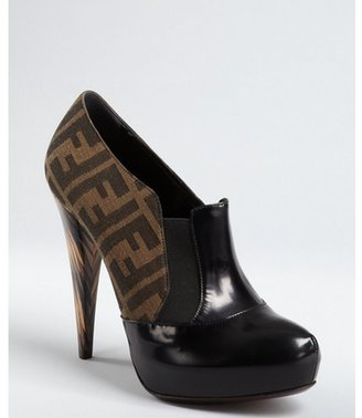 Fendi black zucca canvas and leather cone heel platforms