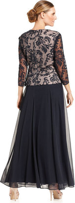 Patra Dress, Three-Quarter-Sleeve Lace Peplum Gown