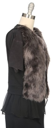 MAILLE By CLU Fur Vest With Chiffon Back Panel