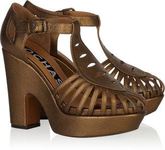 Rochas Metallic grained-leather sandals