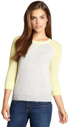 Autumn Cashmere fog and neon yellow cashmere colorblock mesh raglan sweater