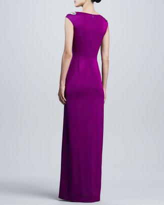 Aidan Mattox Beaded-Shoulder V-Neck Twist Gown