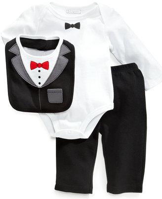 First Impressions Baby Set, Baby Boys Tux 3-Piece Bib, Bodysuit and Pants