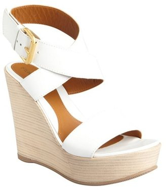 Fendi white leather crisscross ankle strap stacked wedge sandals