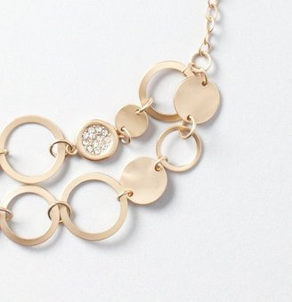 LOFT Short Multi Rings and Pave Discs Necklace