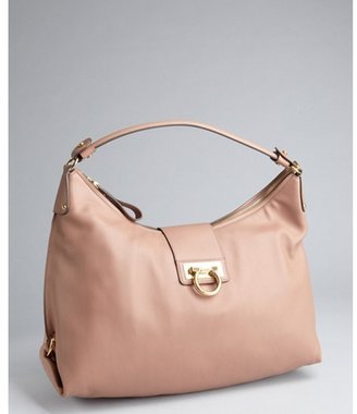 Salvatore Ferragamo blush leather gancio buckled shoulder bag