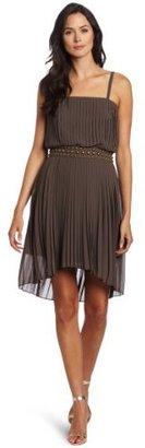 Nine West Dresses Women's Pleat Detail High Low Dress